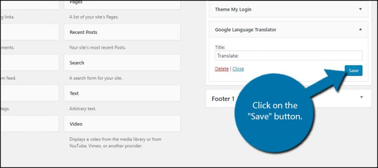 oogle Translate Plugin to a Widget Area